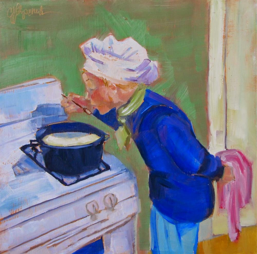 """""""Tasting the Soup"""" original fine art by Christine Holzschuh"""