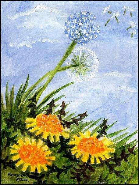 """""""Dandelions in Spring"""" original fine art by Patricia Ann Rizzo"""