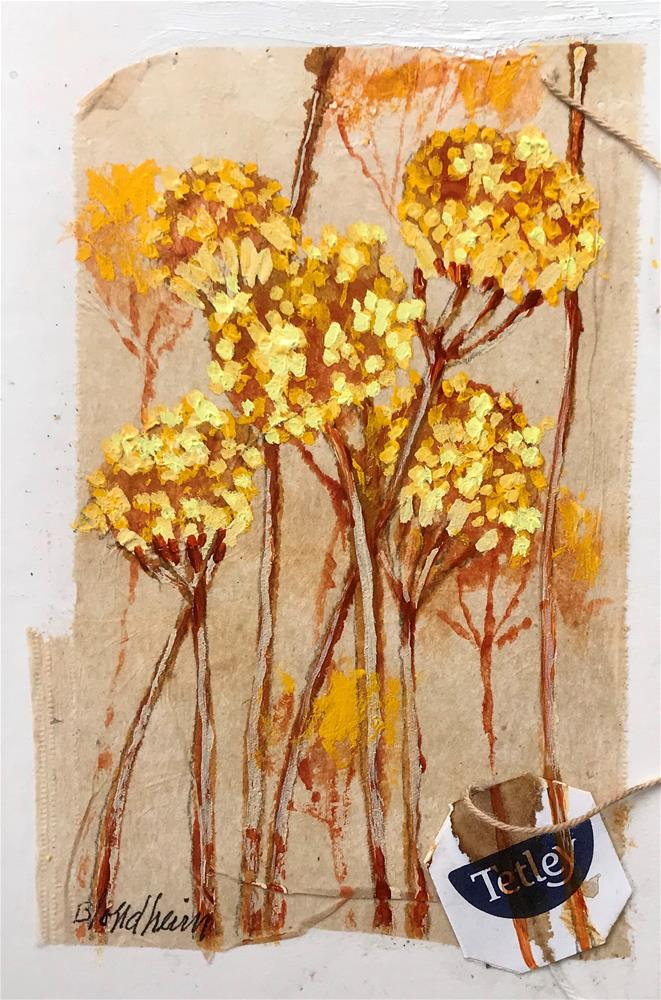 """Tea Bag Painting Yarrow"" original fine art by Linda Blondheim"