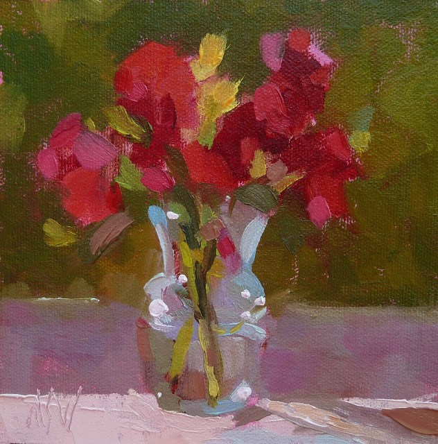 """""""Red Roses 6x6 Picked these wild roses near my studio and set them on the windowsill to paint."""" original fine art by Mary Sheehan Winn"""