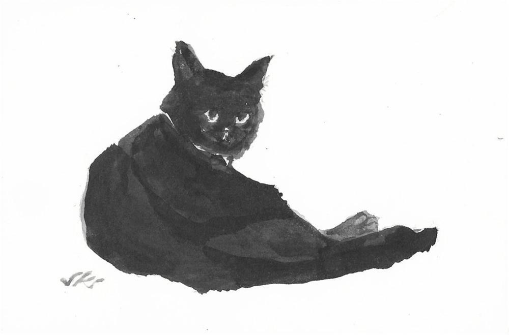 """Cat 24"" original fine art by Jean Krueger"