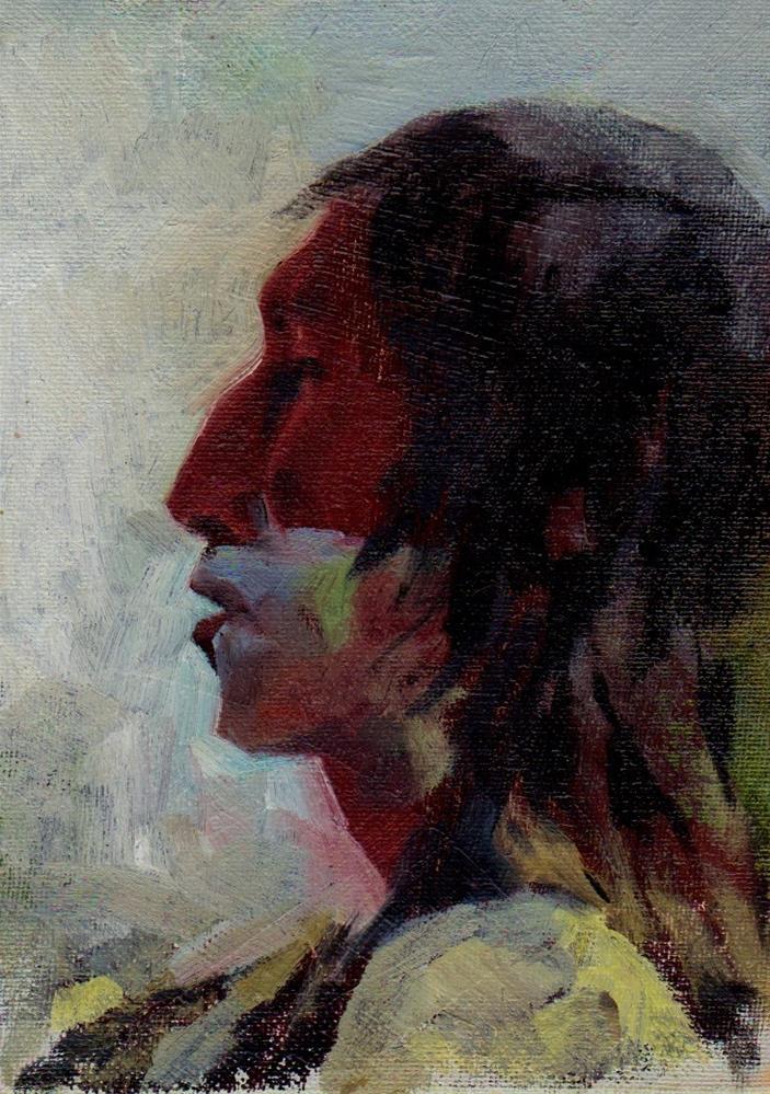 """face #1. redskin"" original fine art by Mark DeBak"