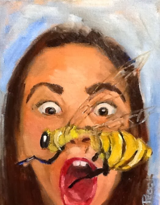 """Bee Gone !"" original fine art by Peggy Schumm"