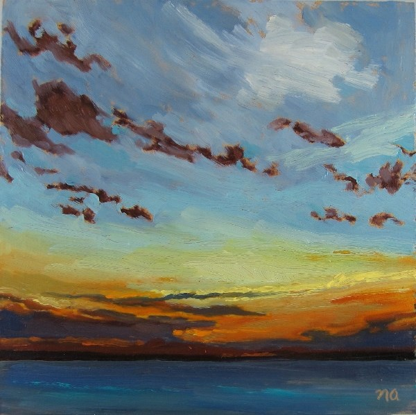 """""""Clouds and the Setting Sun"""" original fine art by Nicki Ault"""