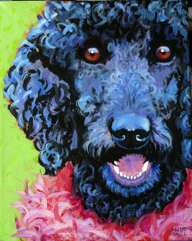 """""""Poodle in Pink Feather Boa"""" original fine art by Ande Hall"""
