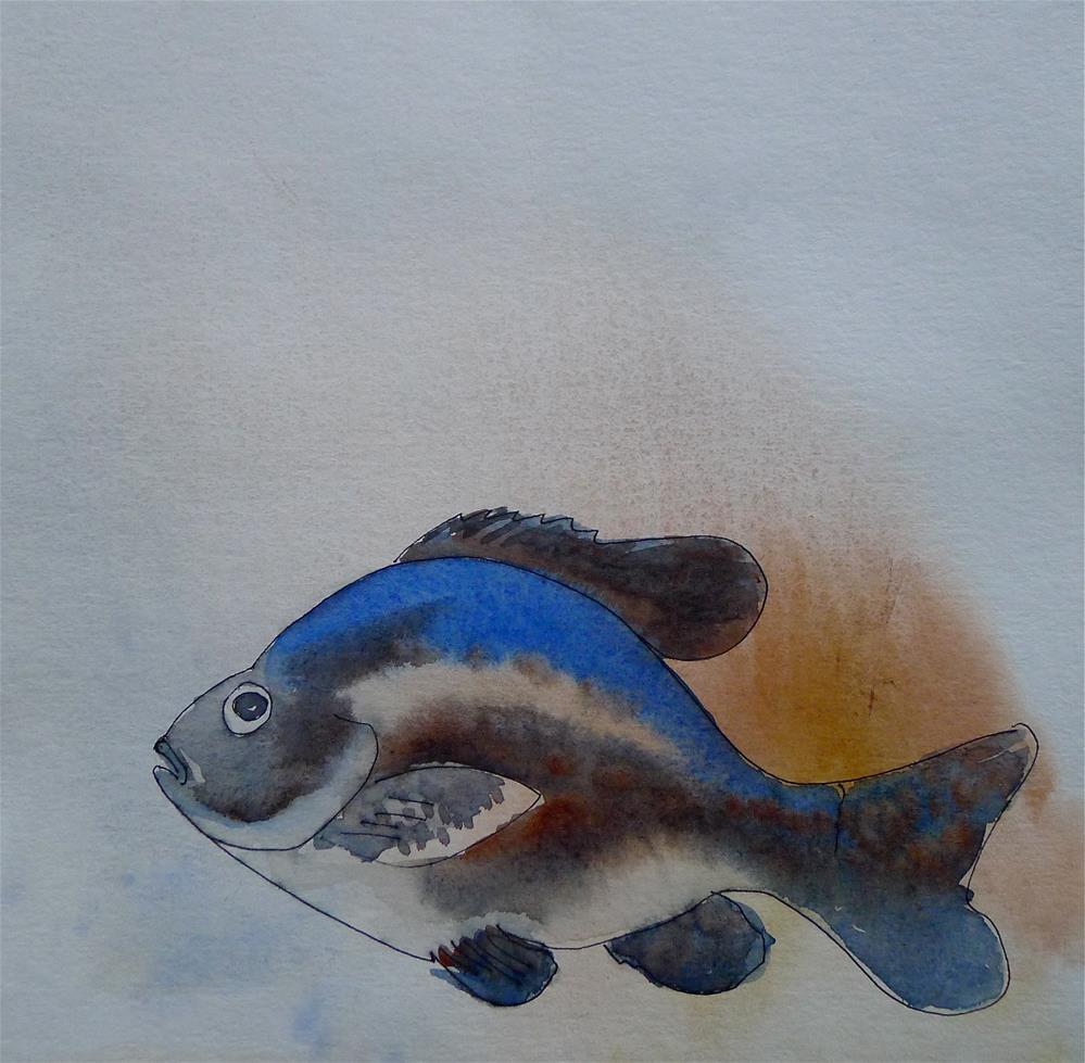 """Big blue fish"" original fine art by Ulrike Schmidt"