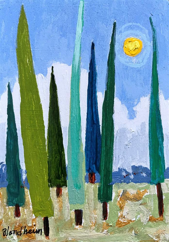 """Tree Toons Italian Poplars"" original fine art by Linda Blondheim"