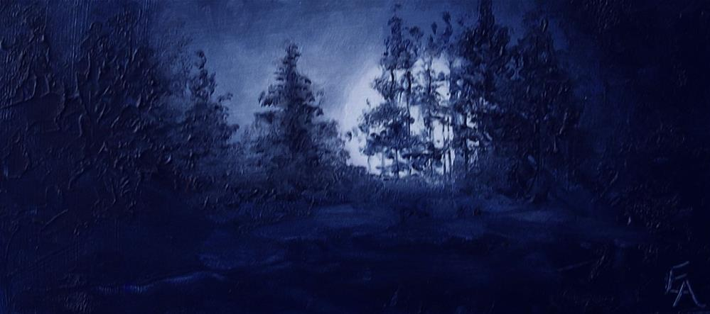 """Winter Moonlight"" original fine art by Elizabeth Elgin"