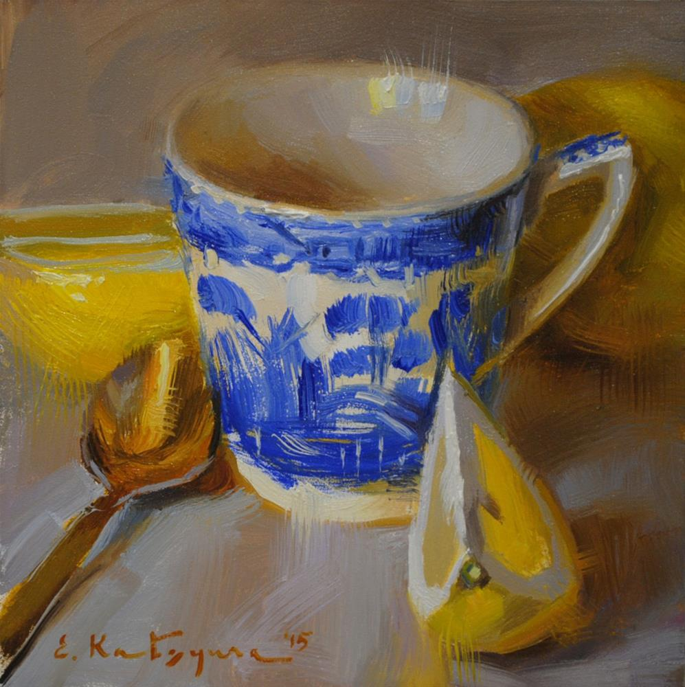 """Blue Cup and Lemons"" original fine art by Elena Katsyura"