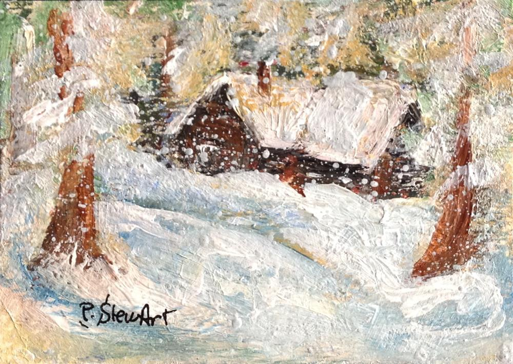 """ACEO Winter Log Cabin Woods Snowy Day SFA Miniature Art Penny StewArt"" original fine art by Penny Lee StewArt"
