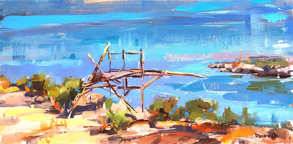 """Native Fishing Platform"" original fine art by Cathleen Rehfeld"