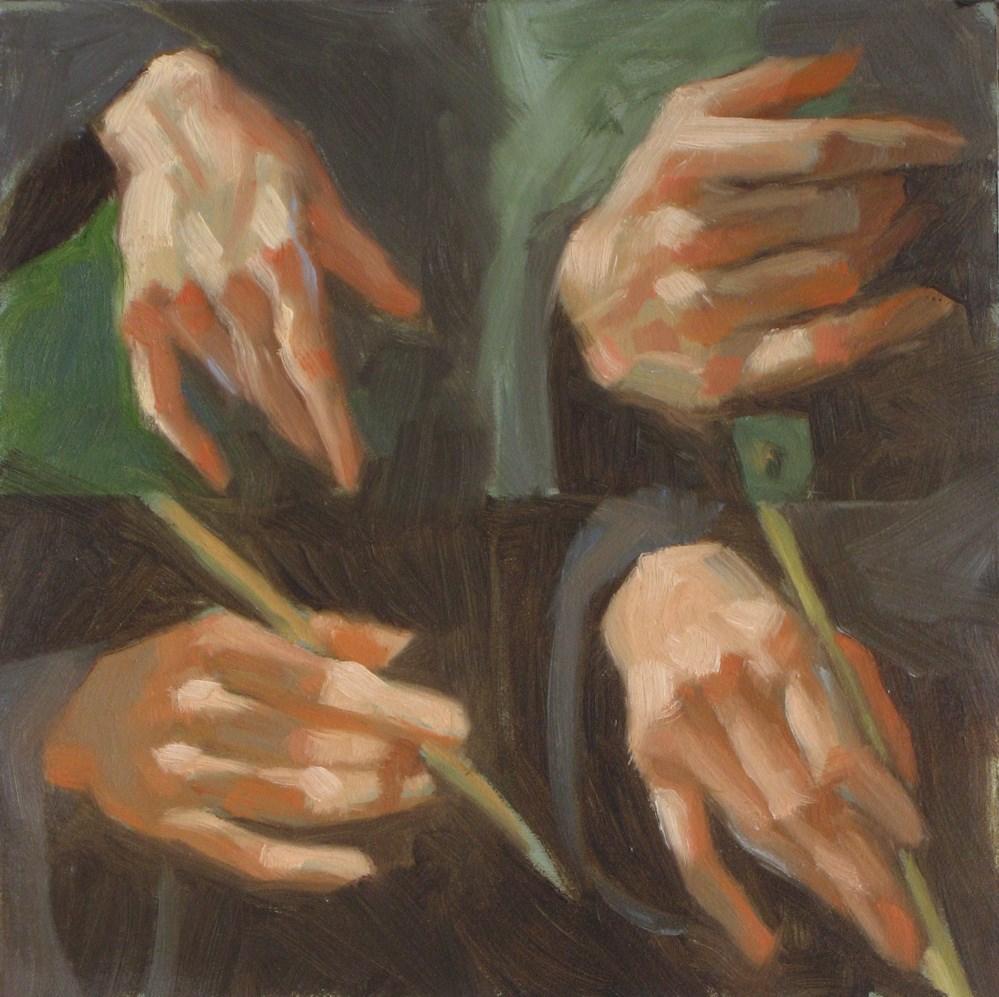 """Four hands  6x6 oil"" original fine art by Claudia Hammer"