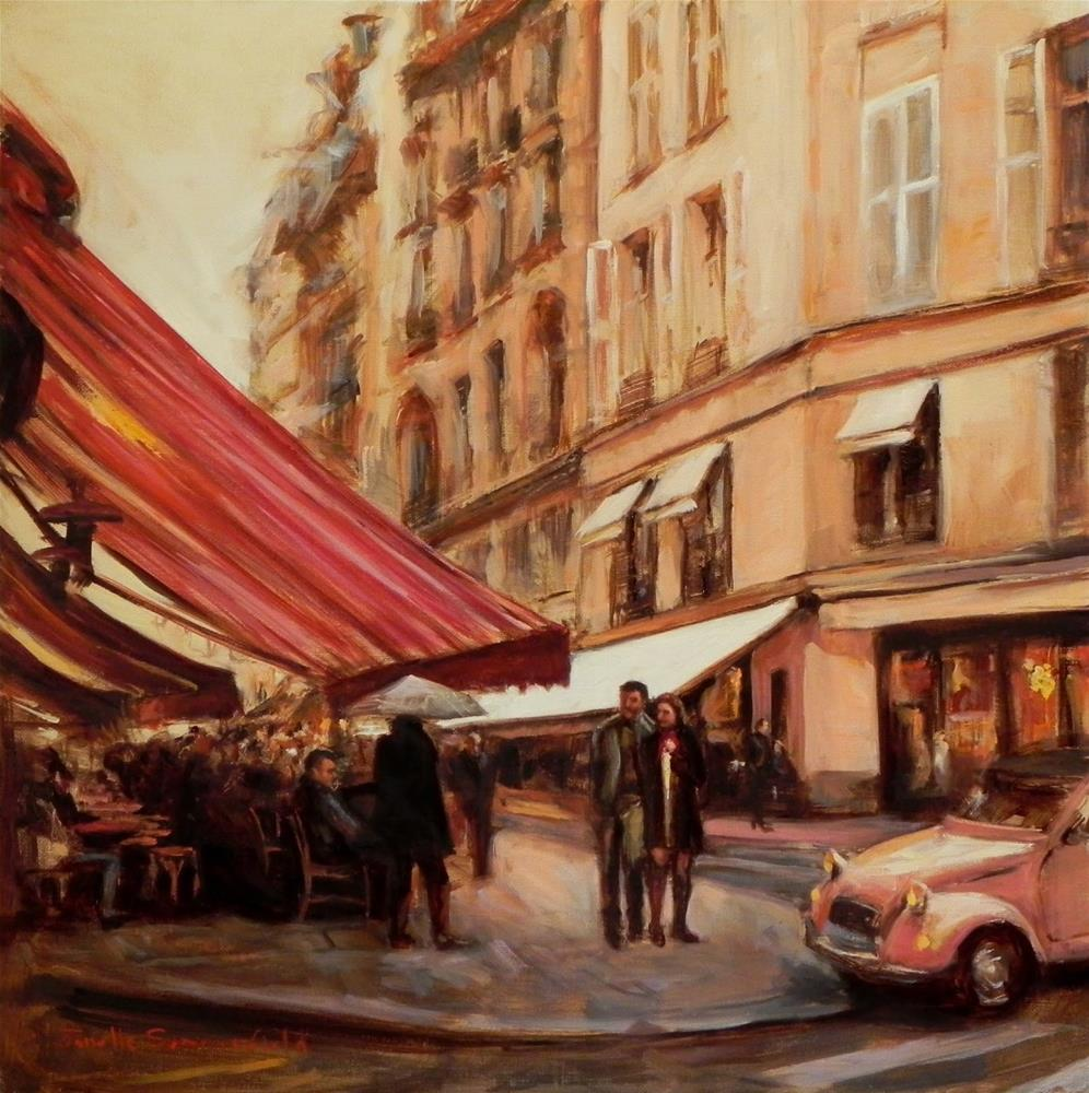 """Cafes on a Rainy Day"" original fine art by Jonelle Summerfield"