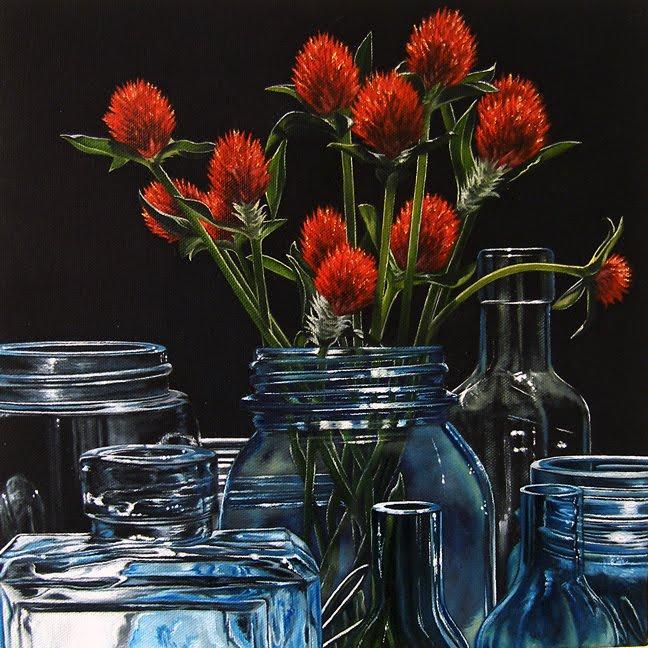 """Glass & Floral III"" original fine art by Jelaine Faunce"
