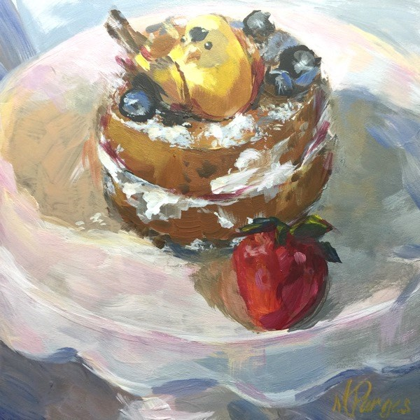"""Babycake with Berry"" original fine art by Mary Pargas"