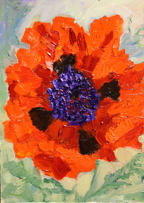 """Sunny Poppy"" original fine art by Jane Frederick"