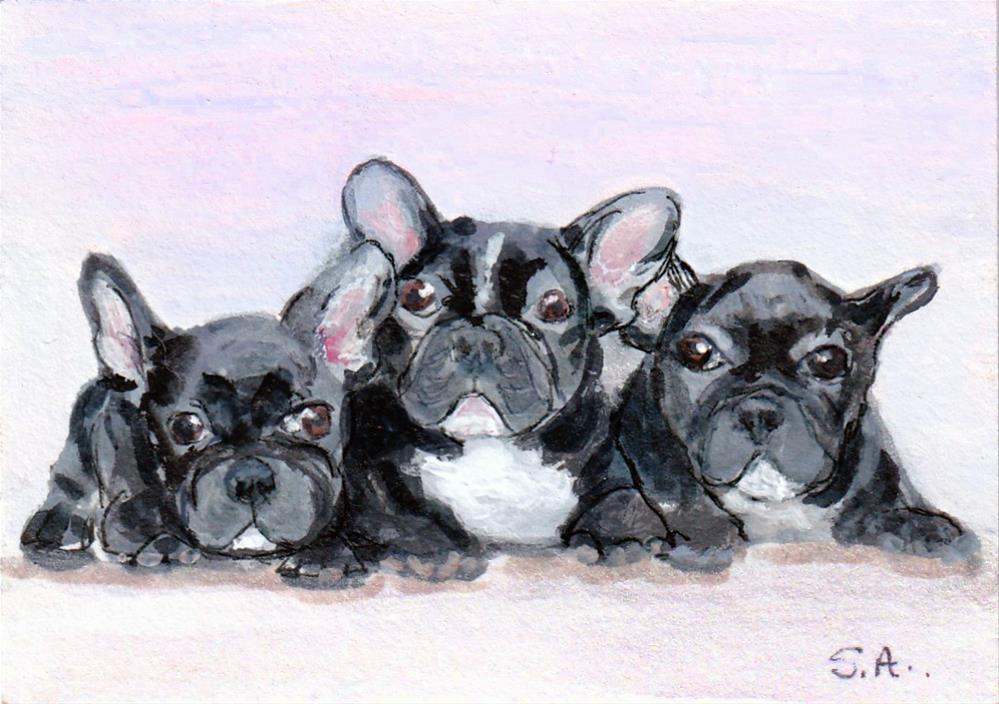 """Three lil Frenchies ACEO"" original fine art by Sunny Avocado"
