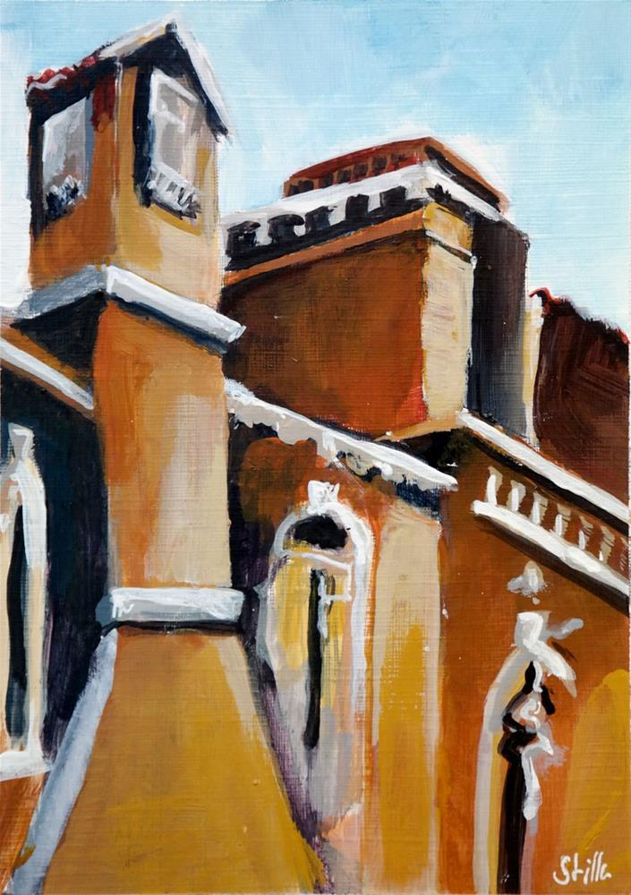 """2119 Chimneys on the Piazza"" original fine art by Dietmar Stiller"