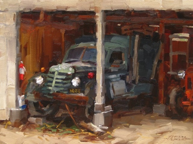 """Permanent Parking -a plein air painting from La Verne Heritage Park"" original fine art by Karen Werner"
