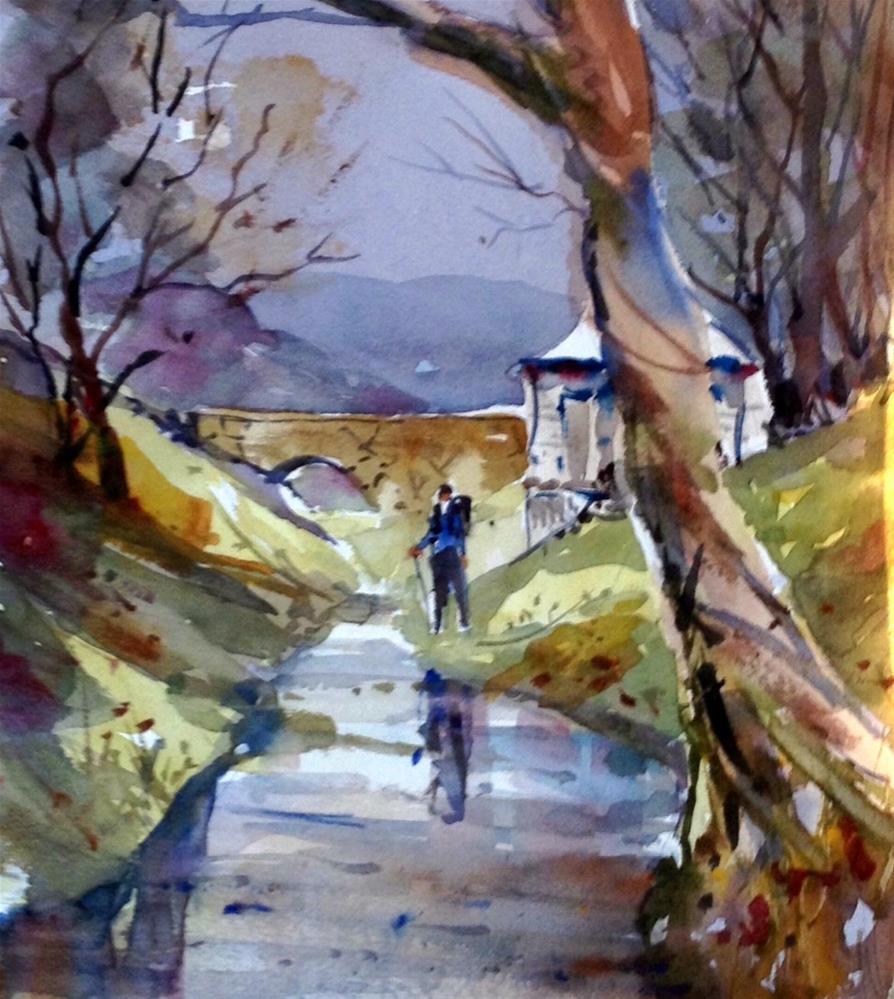 """Hiking through Woodstock"" original fine art by David Finnell"