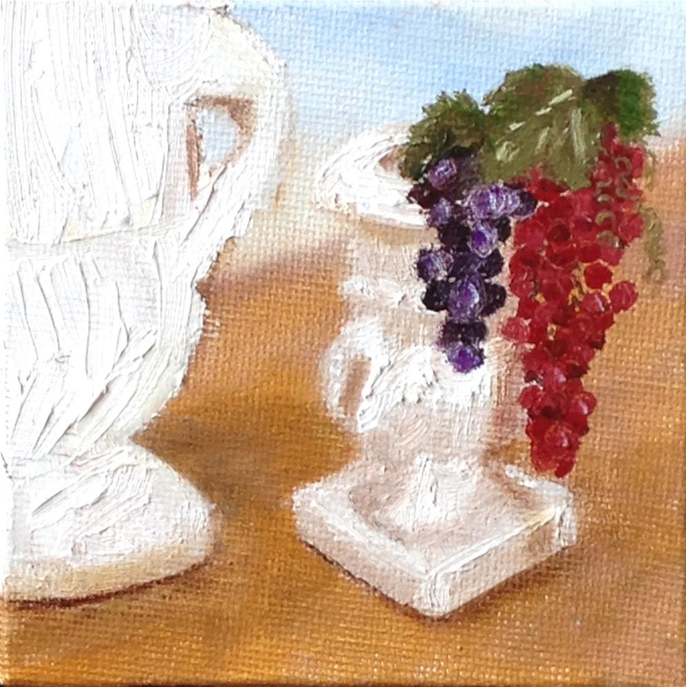 """""""Urns and Grapes  brown"""" original fine art by Joy McMicken"""