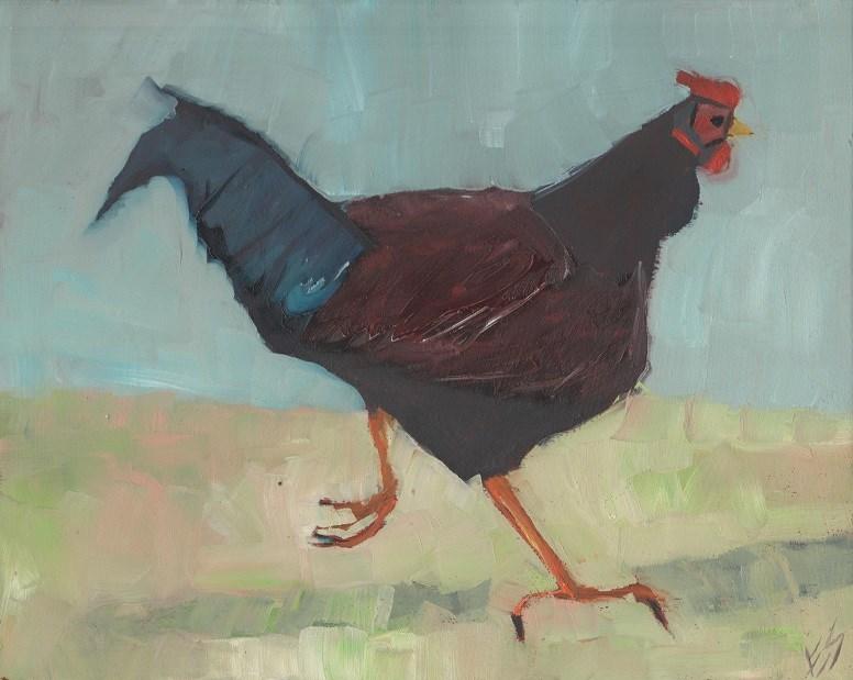 """""""Chicken Trot"""" original fine art by Elizabeth See"""