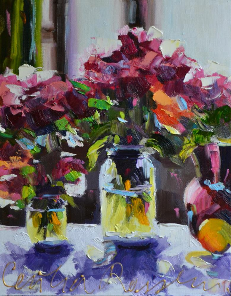 """ROSES IN MASON JARS"" original fine art by Cecilia Rosslee"