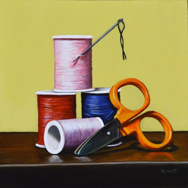 """Sewing Kit"" original fine art by Kim Testone"