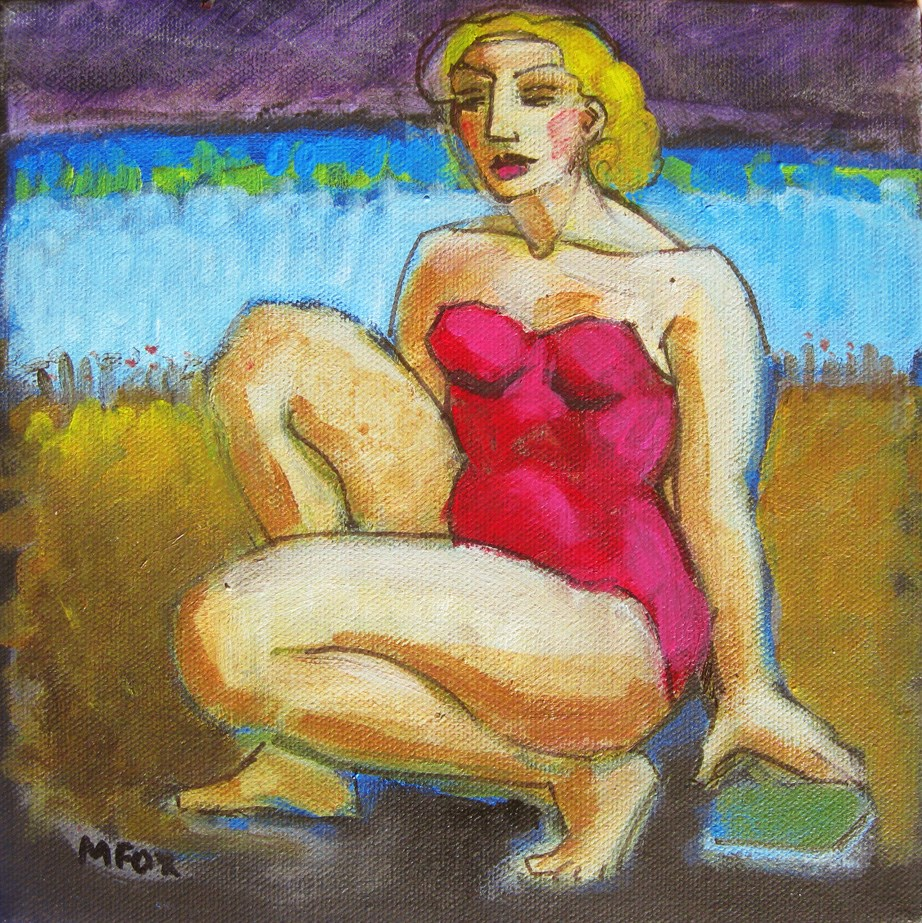 """Figurative painting of woman at beach, ocean, figuration, contemporary figure painter"" original fine art by Marie Fox"