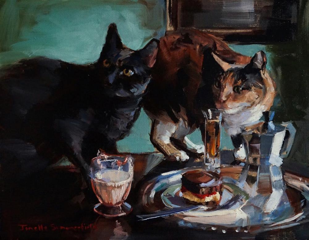 """""""Curious Cats"""" original fine art by Jonelle Summerfield"""