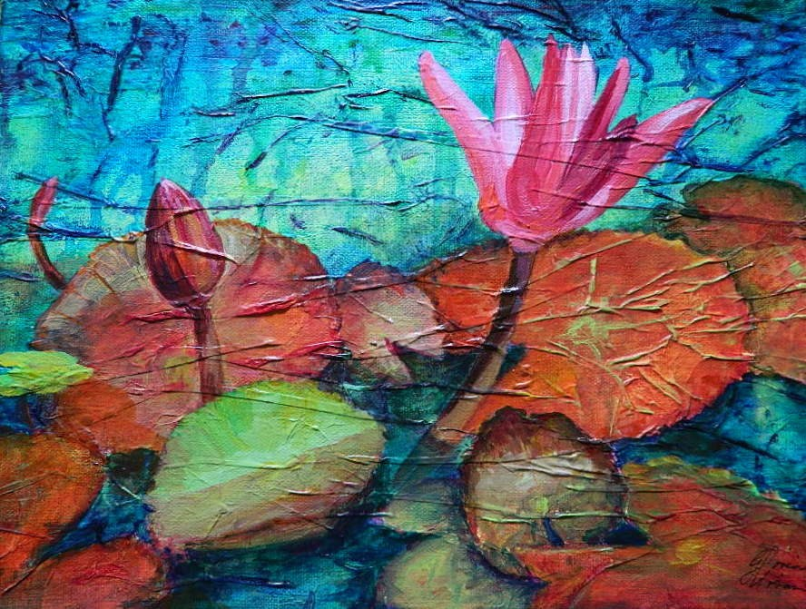 """Pink Water Lily"" original fine art by Gloria Urban"