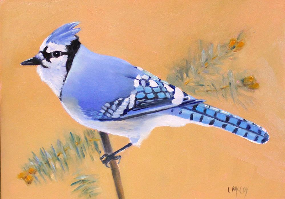 """Blue Jay, Bird Oil Painting"" original fine art by Linda McCoy"