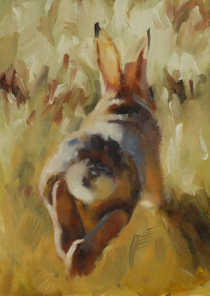 """""""Run, Rabbit, Run!"""" original fine art by Pamela Poll"""