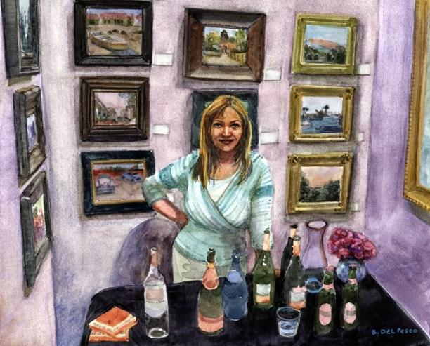 """Watercolor: Drinks at the Reception (& Artists on Facebook)"" original fine art by Belinda Del Pesco"