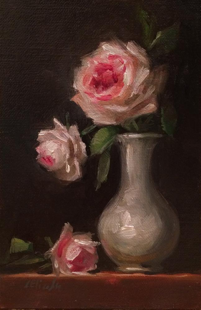 """""""Roses in Porcelain, 4x 6 Oil on linen Panel"""" original fine art by Carolina Elizabeth"""