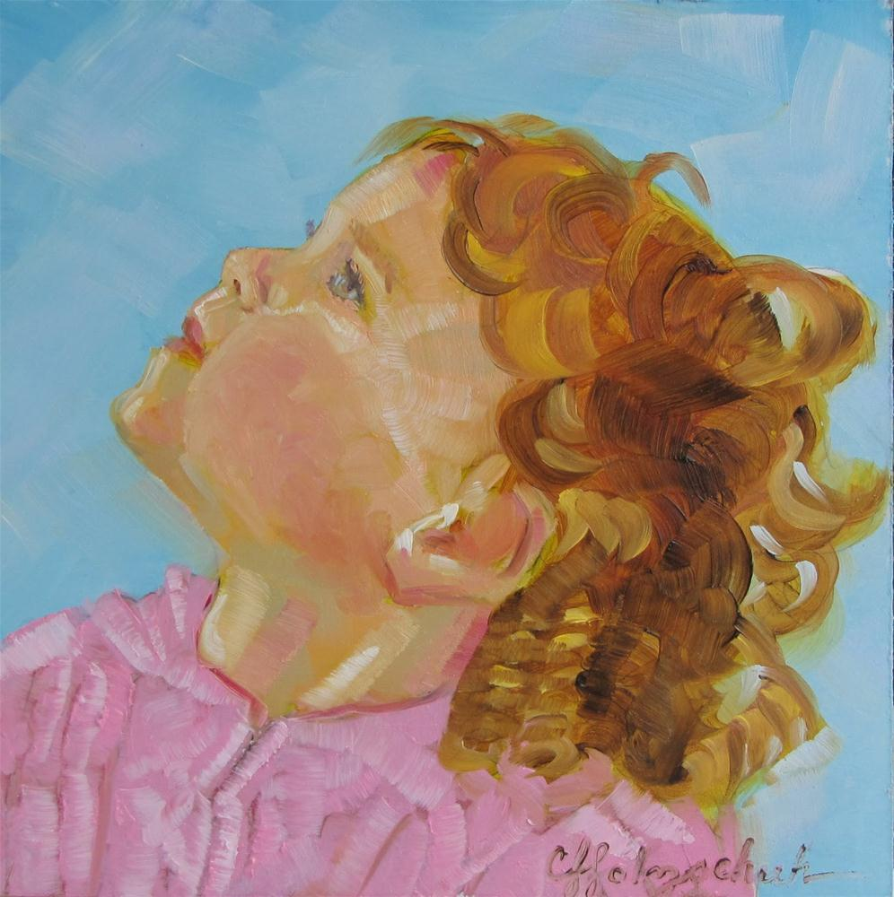 """""""Things Are Looking up  7x7 oil"""" original fine art by Christine Holzschuh"""