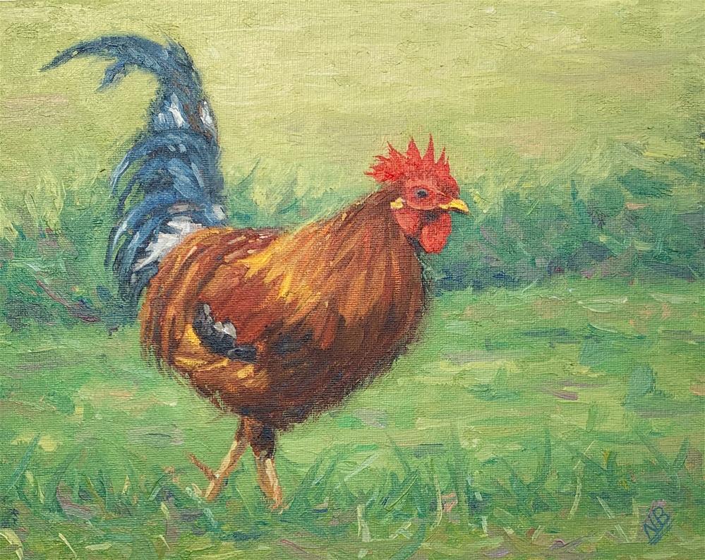 """""""Rooster"""" original fine art by Nina Brodsky"""