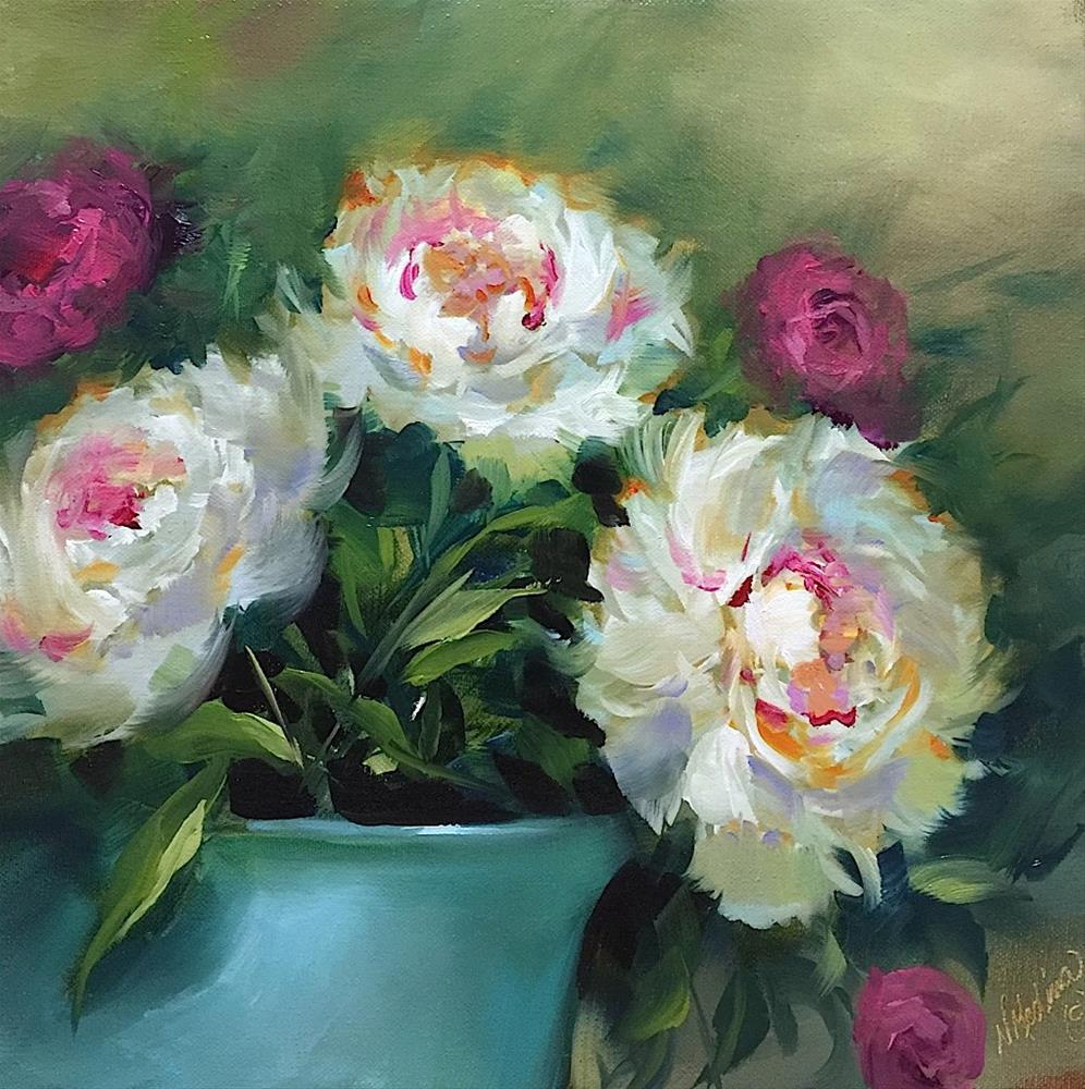 """Butterfly Rest Stop Pink Peonies and a New E-Course Unveiled"" original fine art by Nancy Medina"