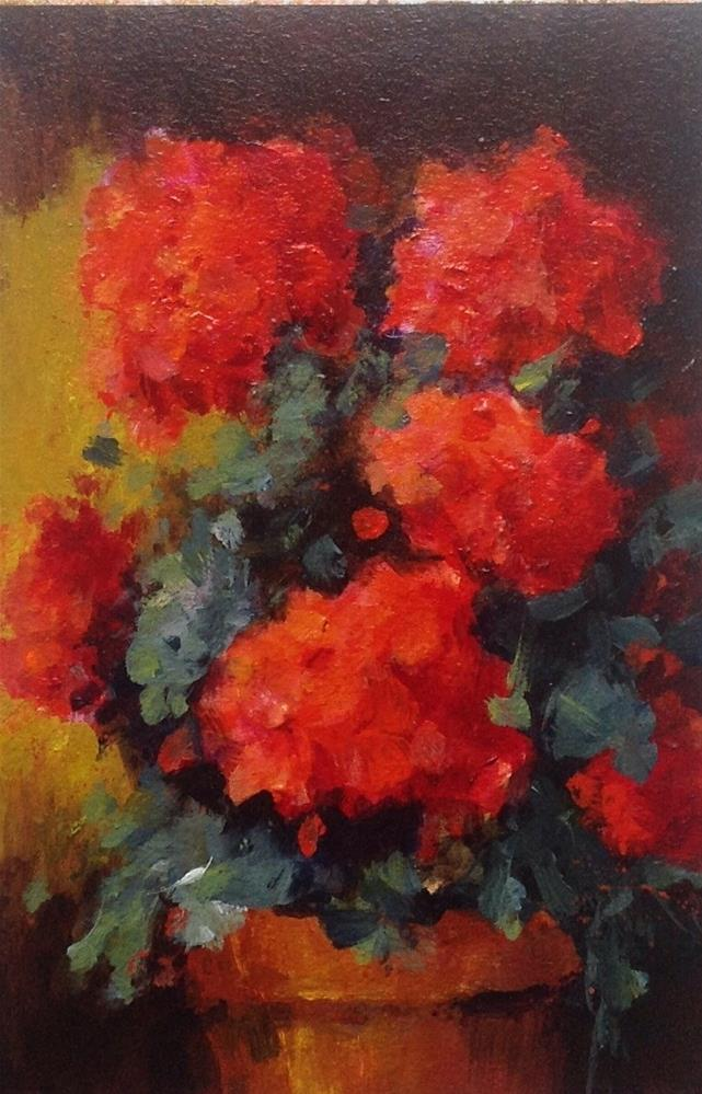 """Original geranium flower floral still life painting"" original fine art by Alice Harpel"
