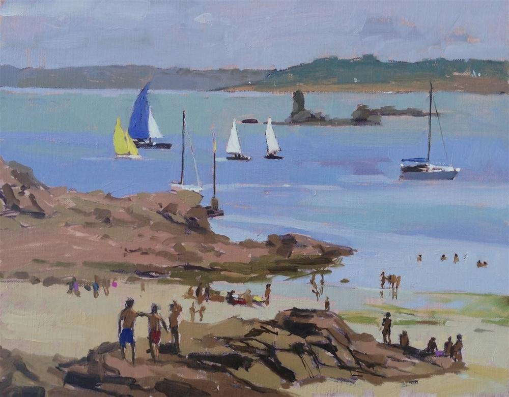 """Regatta day, Bréhat"" original fine art by Haidee-Jo Summers ROI"