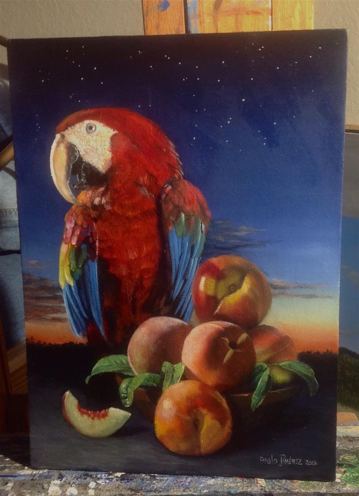 """""""Peaches – almost done"""" original fine art by Paulo Jimenez"""