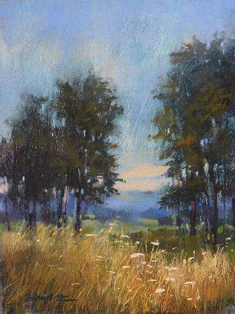 """Why I Liked Blue Paper for Painting Trees"" original fine art by Karen Margulis"