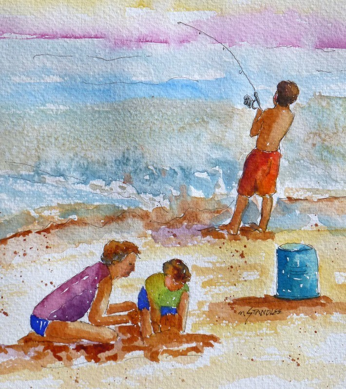"""Beach Fishing 13100"" original fine art by Nancy Standlee"