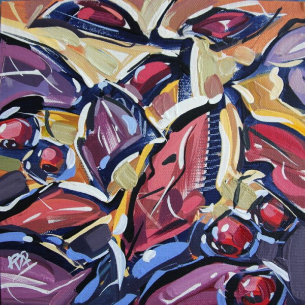 """""""Autumn Berry Abstraction 27"""" original fine art by Roger Akesson"""