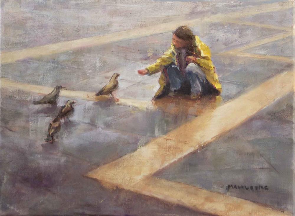 """Feeding Pigeons at St. Marks Square"" original fine art by Cynthia Mahlberg"