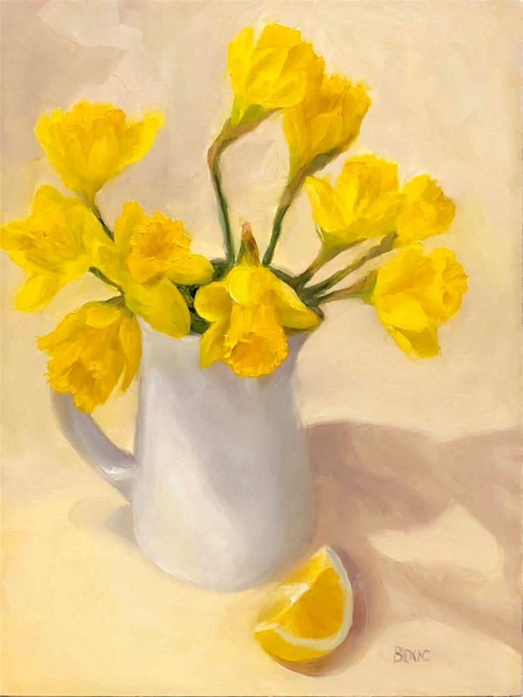 """SPRING YELLOW DAFFODILS WITH LEMON WEDGE"" original fine art by Jana Bouc"
