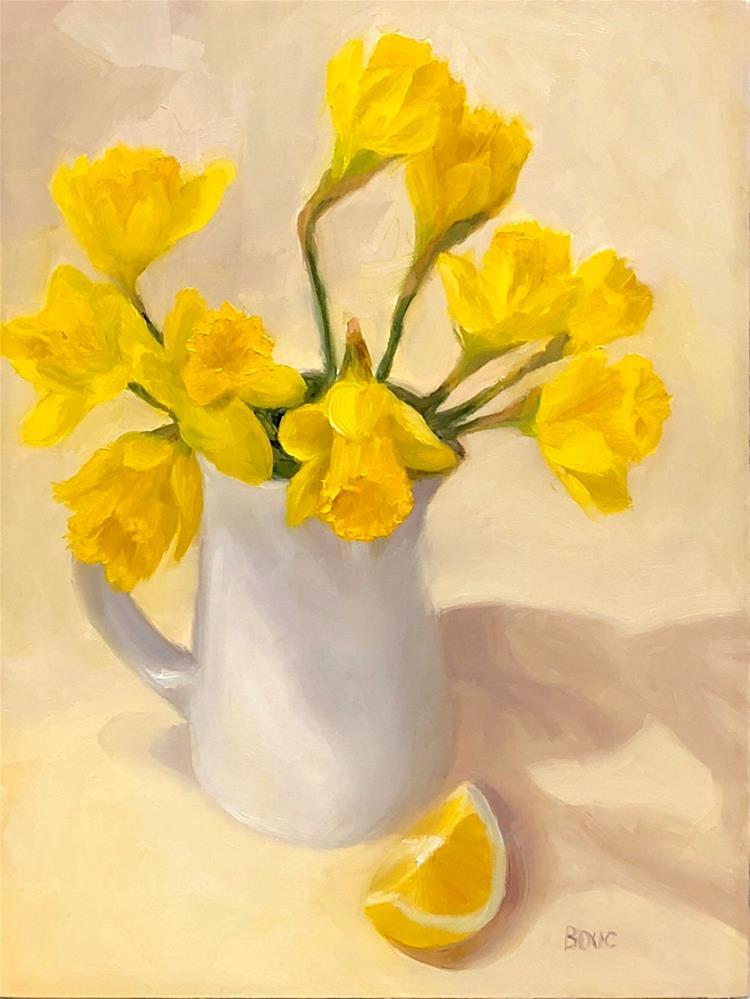 """SPRING YELLOW DAFFODILS WITH LEMON WEDGE"" original fine art by Jana Bouc"