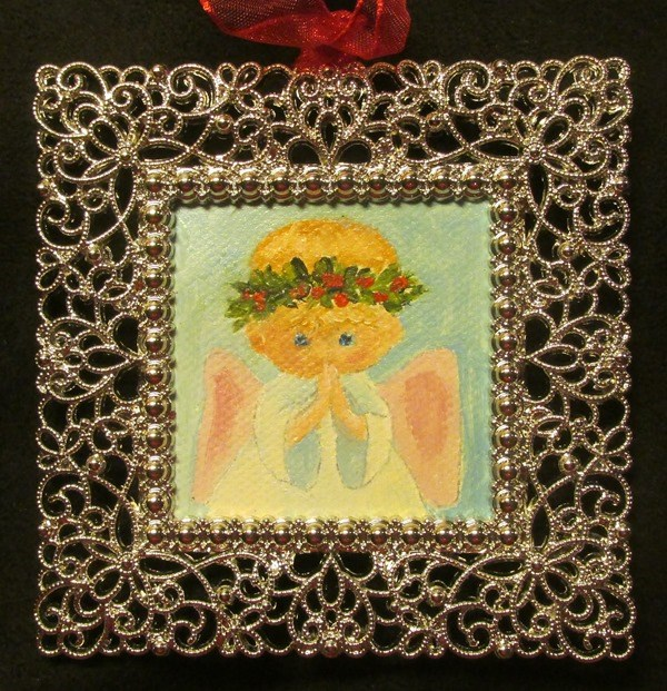 """Sweet Angel Ornament"" original fine art by Ruth Stewart"