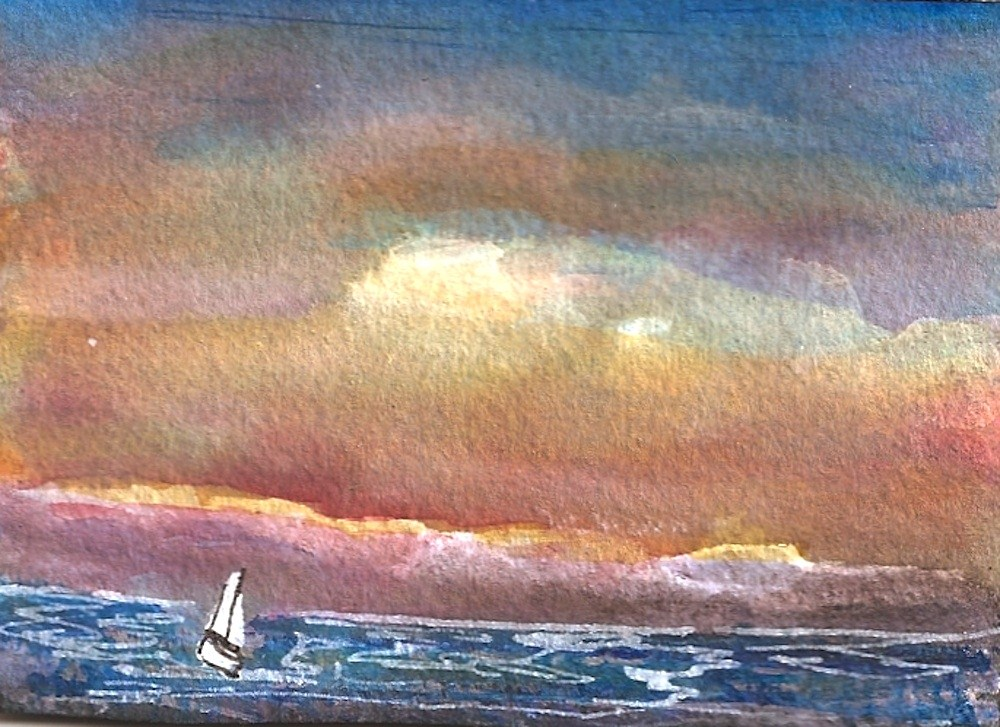 """ACEO Red Skies At Night, Seascape"" original fine art by Penny Lee StewArt"