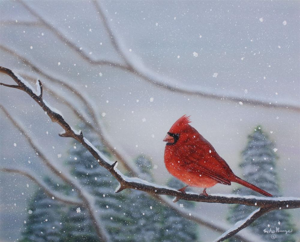 """Snowy Solitude"" original fine art by Fred Schollmeyer"